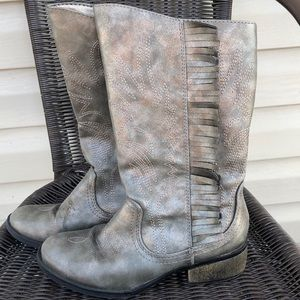 Stevies girls silver/gray side zip cowboy boots